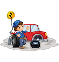 A boy fixing a red car vector