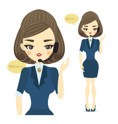 a young call center woman with vector image