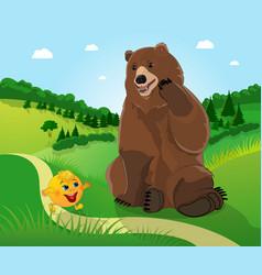 Bear and bun kolobok vector