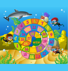 Boardgame template with kids underwater vector