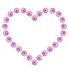 Button heart vector image vector image