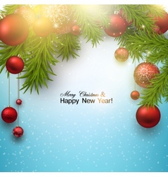 Christmas background with red balls and green vector