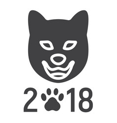 dog chinese zodiac of 2018 year glyph icon vector image