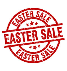 easter sale round red grunge stamp vector image vector image
