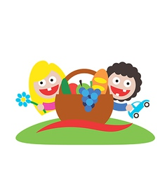 Family picnic boy and girl art logo vector