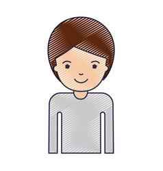 Half body man with short hair in colored crayon vector