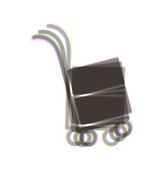 Hand truck sign colorful icon shaked with vector