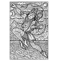 Hanuman hindu monkey god engraved fantasy vector