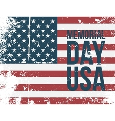 Memorial day usa type on colorful grunge flag vector
