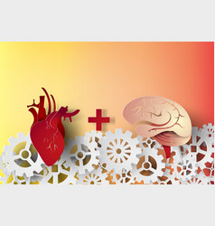 Paper art of brain and heart with gear concept vector