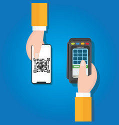 pay by qr code in mobile phone payment method vector image
