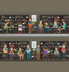 people read in the library set vector image