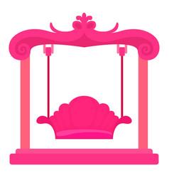 Pink swing icon cartoon style vector