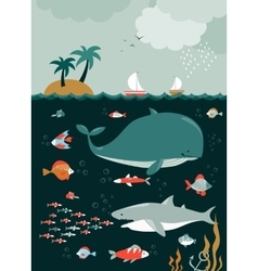 Sea life underwater world vector