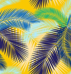 Seamless color palm leaves pattern vector