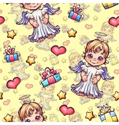 seamless pattern with cartoon angels and vector image vector image