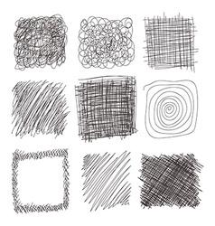 Set of hand drawn lines textures scribbles of pen vector