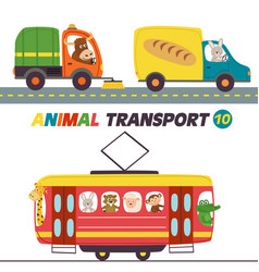 Set of isolated transports with animals part 10 vector