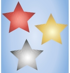 Set of three glowing stars vector