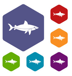 Shark fish icons set hexagon vector