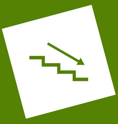 Stair down with arrow white icon obtained vector
