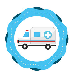 Sticker ambulance emergency care life vector