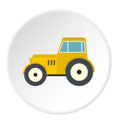 Yellow tractor icon circle vector
