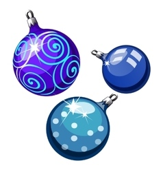 Three blue balls on christmas tree isolated vector