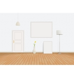 White room of bricks and parquet vector