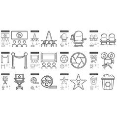 Cinema line icon set vector