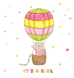 Baby girl cat with a balloon - baby shower vector