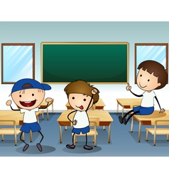 Three boys laughing inside the classroom vector