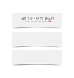 Set of blank paper banners with shadows isolated vector