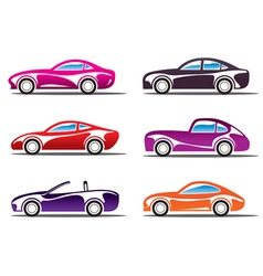 Luxury sport cars silhouettes vector image
