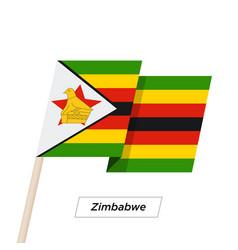 Zimbabwe ribbon waving flag isolated on white vector
