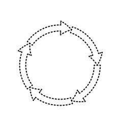Cirkular arrows sign black dashed icon on vector