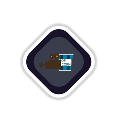 paper sticker on white background popcorn cinema vector image