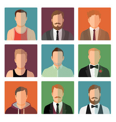 Sport style and suit male avatars vector