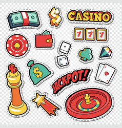 Csino gambling doodle with poker cards vector