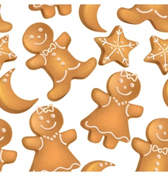 Seamless pattern of christmas biscuits vector