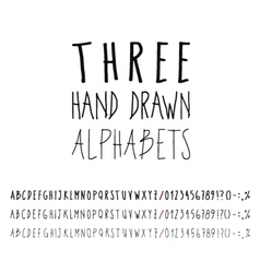 Three hand drawn grunge alphabets collection vector