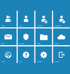 User account icons on blue background vector