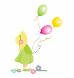 Girl with color balloons vector