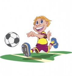 soccer playing boy vector image