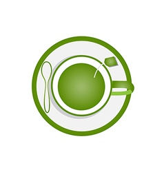 Green tea in glass vector image