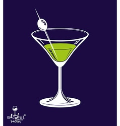 Realistic 3d martini glass with olive berry placed vector