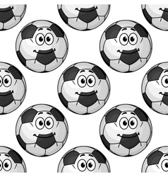 Cartoon cute soccer ball characters seamless vector