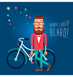 Labor beard hipster vector
