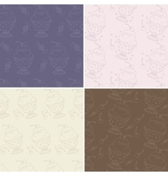 Set of four seamless patterns with cute hand drawn vector image