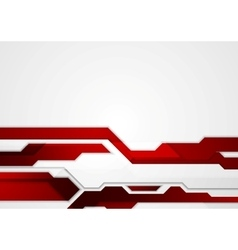 Abstract red geometric tech corporate design vector